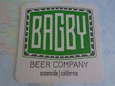 Beer Bar Coaster ~*~ BAGBY Beer Company ~ Oceanside, CALIFORNIA ~ Micro Brewery