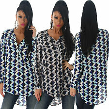 Geometrische Langarm Damenblusen, - tops & -shirts im-Blusen