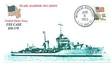 USS CASE DD-370 Pearl Harbor 1941 Ship Blue Photo Cacheted First Day Cover
