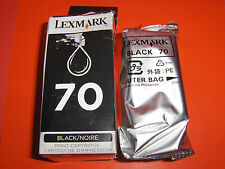 Lot of 2 Genuine Lexmark 70 Black Ink Cartridges 12A1970 - 5000/X63/Z42;