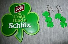 1978 SCHLITZ Beer IRISH I Had a Schlitz Plastic Pinback Button & Earrings