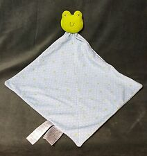 """Carters Frog Security Blanket Lovey Blue Green Rattle Stars Precious First 13.5"""""""