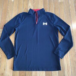 Under Armour 1/4 Zip Long Sleeve Shirt Loose Athletic HeatGear Shirt YLg Large