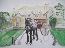 Irish Trap Horse at Muckross Killarney Ireland Watercolor Painting 9x12 Sullivan