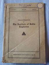Proceedings IRE Institute Radio Engineers 1936 Radio Epoca PHILIPS ZENITH MONZA