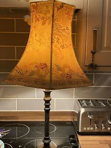 LAURA ASHLEY  Vintage Brass/wood Large Table Lamp & Shade