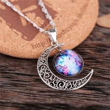 Women Galactic Glass Cabochon Pendant Silver-tone Crescent Moon Necklace 533-12