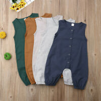 3-24M Newborn Infant Baby Girls Boys Cotton Romper Outfits Sleeveless Jumpsuit