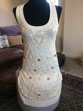 Cream Knit Tank Vest Top By Alice Temperley With Pearl Embellishment