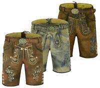 Herren Trachtenlederhose Kurz Trachten Lederhose mit Gürtel Größe 46-60 LE31-33