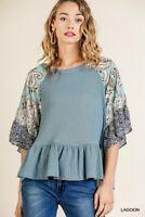 Umgee Bohemian Paisley Floral Print Bell Sleeve Waffle Knit Top