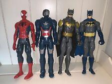 "AVENGERS IRON MAN SPIDERMAN 12"" FIGURES PLUS 2 BATMAN! Hasboro LOT"