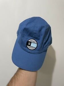 vintage 90s nike 5 panel strapback hat athletic cycling blue swoosh rare usa