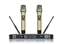 Cordless Microphone System UHF Golden Dual Handheld Mics Vocal Church Theatre