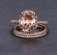 10x12mm Oval Cut Morganite Engagement Wedding Diamonds 3 Ring Set 14K Rose Gold