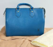 LOUIS VUITTON SPEEDY 25 EPI BLUE LEATHER TOTE, DUST BAG AND KEY LOCK. V.I.1901