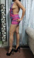 Pink Tartan Micro Mini Dress Girls Ladies Check Short Plunge Deep Neck Backless