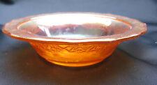"1933 IridescentMarigold Depression Glass Normandie Bouquet Lattice 5"" Berry Bowl"