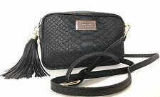 Victoria's Secret Black Python Crossbody Bag Clutch With Strap, New.