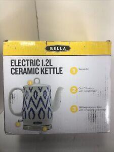 BELLA 1.2 Liter Electric Ceramic Tea Kettle with Detachable Base & Boil Dry P...