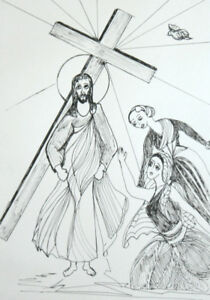 European Religious Figural Ink Drawing Signed