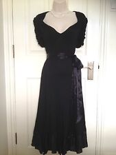 Coast Black Viscose Sweetheart Fit&Flare Midi Cocktail Evening Dress Size 14