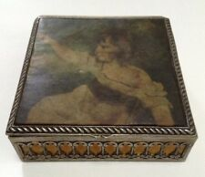 Young Girl in Dress Sitting Antique Soft Top Trinket/Jewelry Box