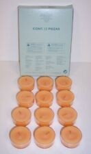 One Dozen PartyLite Tealight Candles Whispering Leaves Vo4433 (peach) Clear Cup
