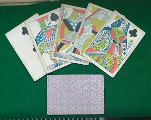 GENUINE Civil War Period 1860 Lucky POKER HAND  ' Two Pairs ' QUEENS & JACKS
