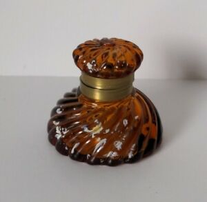 Vintage Glass Inkwell Ink Bottle Amber Brown with lid