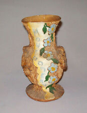 Antique Vtg C 1900s Folk Art Pottery Vase Incised Montgomery W/ Flowers Bark Al