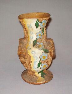 Antique Vtg C 1900s Folk Art Pottery Vase Incised Montgomery W/ Flowers Bark Al