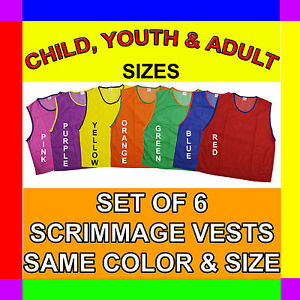 6 SCRIMMAGE VESTS SOCCER BASKETBALL FOOTBALL CHILD YOUTH ADULT PINNIES JERSEYS