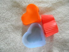 12 SILICONE HEART SHAPED MUFFIN / CUPCAKE CUP LINERS