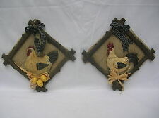 SET OF 2 COUNTRY ROOSTER CHICKEN WALL PLAQUES