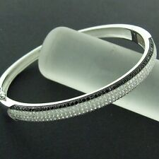 BANGLE BRACELET REAL 925 SOLID STERLING SILVER BLACK SIMULATED DIAMOND DESIGN