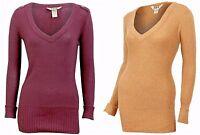Womens Long Line Tan /Dark Red V-Neck Knit Jumper Sweater Uk Size 10 12 14 16 18