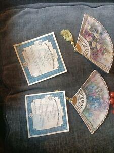 2x Lena Liu Unfolding Beauty Fan Plates With Flowers And Callas Tassel