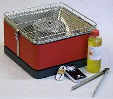 """Table barbecue Charbon de bois Feuerdesign """"Teide"""" rouge MARCHANDISE QUALITÉ B"""