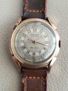 Vintage 1940s Gruen Pan-Am (Pan-American) Solid 14k Pink Gold 17j  Captain Watch