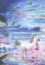 Scarce Leanin' Tree glitter greeting card, birthday, horse in dreamscape