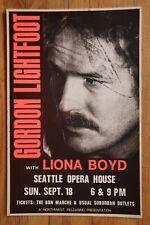*Original* (1977) GORDON LIGHTFOOT Seattle Folk Music Concert cardboard POSTER