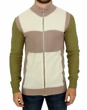 NEW $400 GALLIANO Beige Green Wool Blend Zipper Cardigan Sweater Top Jacket s. L