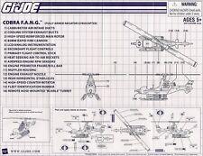 Vintage 2008 GI Joe Cobra FANG Helicopter Blueprints, Very Good condition!