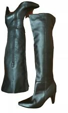 Witchery Sz 42 or 10 High Over The Knee Black Real Leather Boots Patent Heels