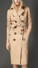 NWT Burberry Kensington Gabardine Honey Long Trench Coat US8 UK10