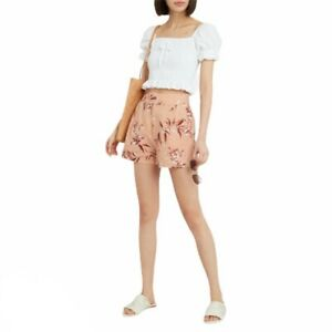NWT Joie Farron Floral Pink Linen High Rise Shorts In Warm Blush 00
