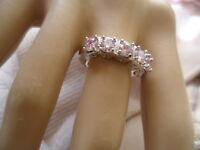Antique Vintage White Gold Band Ring with 5 Sapphire Pink stones ring size 9 S