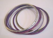 6x Wonderful silver and purple metal bangle style bracelets approx 2¼ ins wide