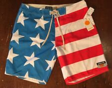 NWTs AMBSN CALIFORNIA Men's Swimming Shorts Suit USA Flag Design Size 32
